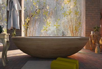 Pomysł na aranżację łazienki - drewno